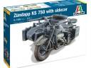 ITALERI 7406 - Scala 1/9  ZUNDAPP KS 750 with Sidecar 德軍 邊車 摩托車 組裝模型  需黏著+上色
